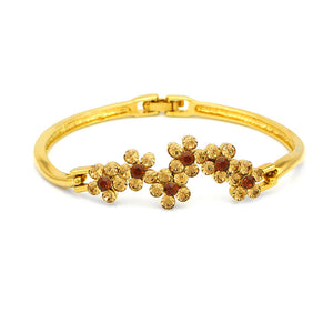 Glistering Flower Bangle with Orange and Brown Austrian Element Crystals