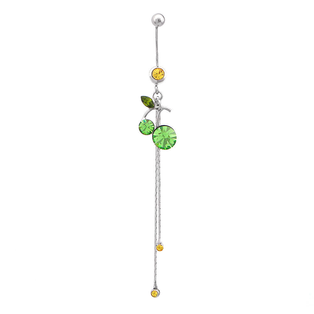 Cherry Belly Ring with Green and Yellow Austrian Element Crystals