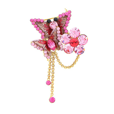 Butterfly and Flower Brooch with Pink Austrian Element Crystal