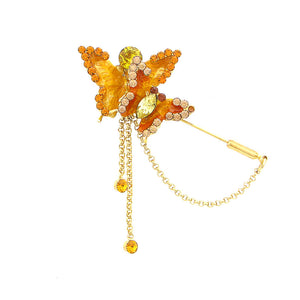 Twin Butterfly Brooch with Orange and Yellow Austrian Element Crystals
