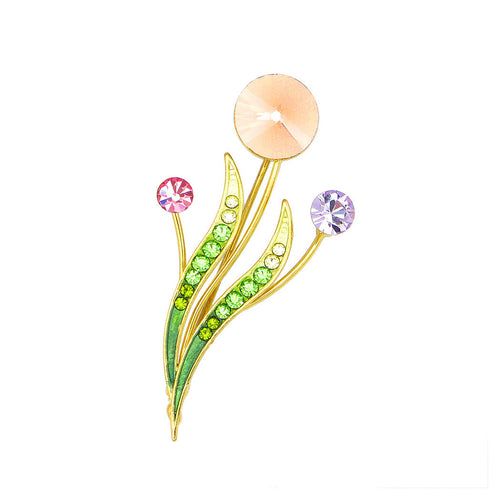 Flower Buds and Leaves Brooch with Multi-colour Austrian Element Crystals and Crystal Glass