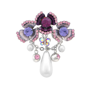 Flower and Butterfly Brooch with Purple Austrian Element Crystal and Fashion Pearl