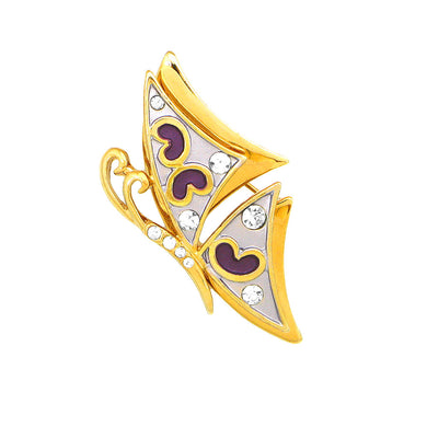 Purple and Golden Butterfly Brooch with Silver Austrian Element Crystal