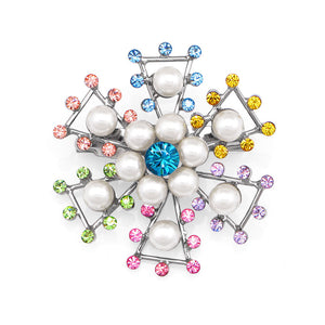 Snowflake Brooch with Multi-color Austrian Element Crystals and White Fashion Pearl