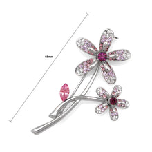 Load image into Gallery viewer, Twin Flower Brooch with Purple and Silver Austrian Element Crystals