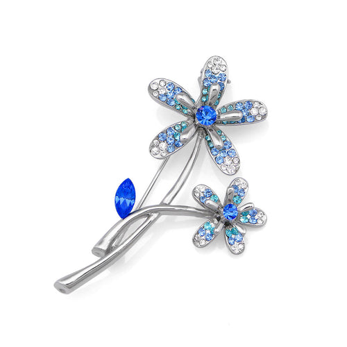 Twin Flower Brooch with Blue and Silver Austrian Element Crystals