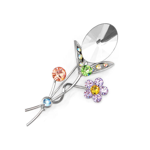 Gleaming Flower Brooch with Multi-colour Austrian Element Crystals and Silver CZ
