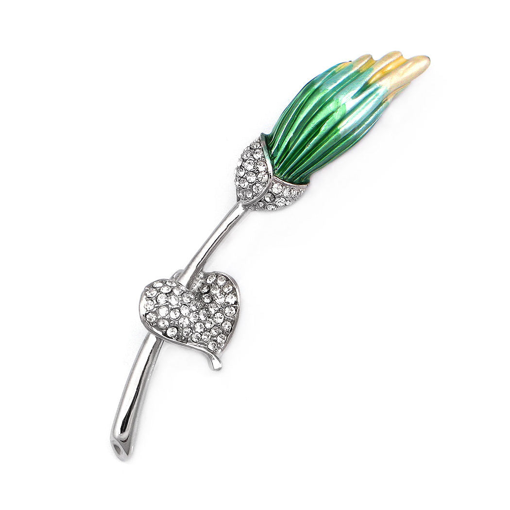 Gleaming Flower Brooch with Silver Austrian Element Crystal