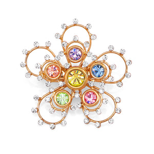 Gleaming Flower Brooch with Multi-colour Austrian Element Crystals