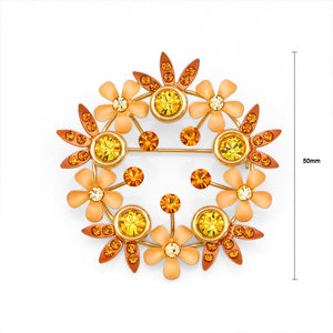 Gleaming Wreath Brooch with Orange and Yellow Austrian Element Crystals