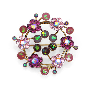 Gleaming Wreath Brooch with Purple Austrian Element Crystal