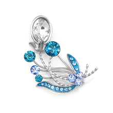 Load image into Gallery viewer, Gleaming Flower Brooch with Blue and Silver Austrian Element Crystals