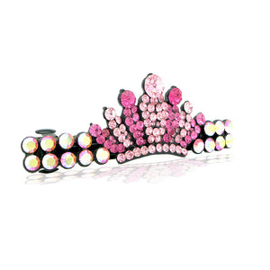 Glistering Crown Barrette with Pink Austrian Element Crystal