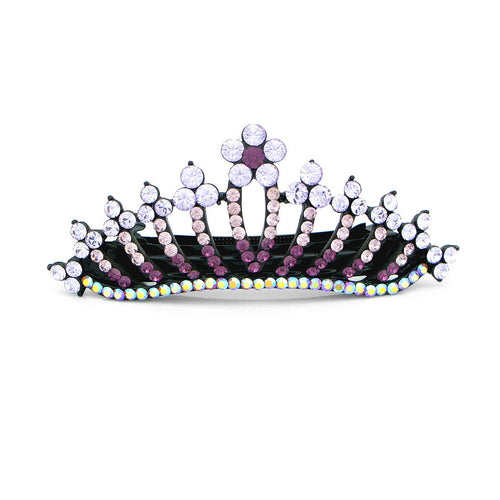 Glistering Crown Barrette with Purple Austrian Element Crystal