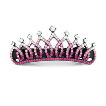Load image into Gallery viewer, Glistering Crown Barrette with Pink and Silver Austrian Element Crystals