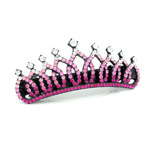 Glistering Crown Barrette with Pink and Silver Austrian Element Crystals