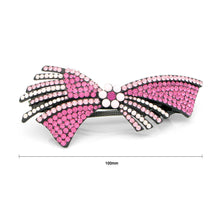 Load image into Gallery viewer, Glistering Flower and Ribbon Barrette with Pink Austrian Element Crystal