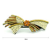 Load image into Gallery viewer, Glistering Flower and Ribbon Barrette with Orange and Yellow Austrian Element Crystals