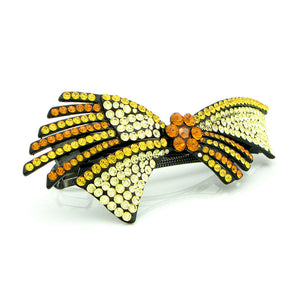 Glistering Flower and Ribbon Barrette with Orange and Yellow Austrian Element Crystals