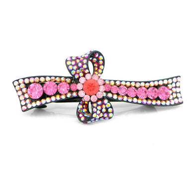 Glistering Flower and Ribbon Barrette with Pink Austrian Element Crystal