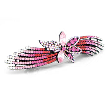 Load image into Gallery viewer, Glistering Flower Barrette with Pink and Silver Austrian Element Crystals