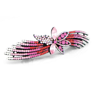 Glistering Flower Barrette with Pink and Silver Austrian Element Crystals