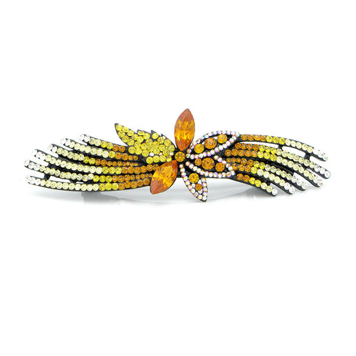 Glistering Flower Barrette with Orange Yellow Silver Austrian Element Crystals