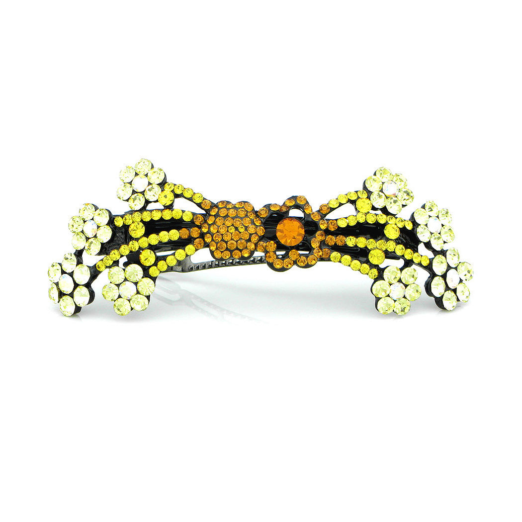 Glistering Flower Cluster Barrette with Orange and Yellow Austrian Element Crystals