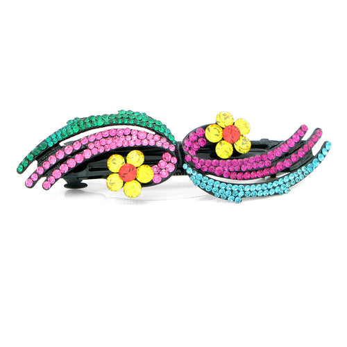 Glistering Flower Barrette with Multi-colour Austrian Element Crystals