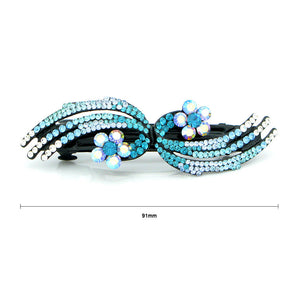 Glistering Flower Barrette with Blue and Silver Austrian Element Crystals