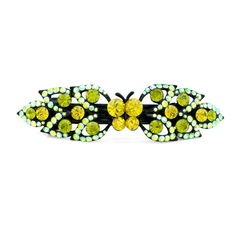 Glistering Butterfly and Leaf Barrette with Green and Yellow Austrian Element Crystals