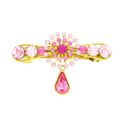 Glistering Flower Barrette with Pink Austrian Element Crystal