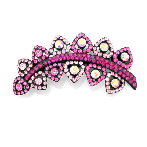 Charming Leaf-like Barrette with Pink Austrian Element Crystal
