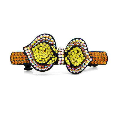 Charming Ribbon Barrette with Orange and Yellow Austrian Element Crystals