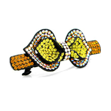Load image into Gallery viewer, Charming Ribbon Barrette with Orange and Yellow Austrian Element Crystals