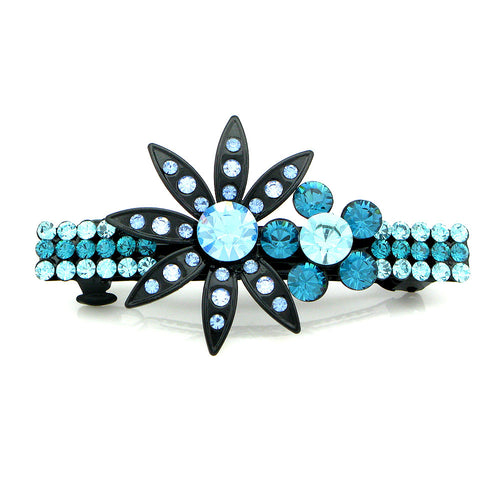 Charming Flower Barrette with Blue Austrian Element Crystal