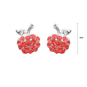 Glistening Apple Earrings with Red Austrian Element Crystals