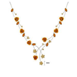 Elegant Rose Necklace with Orange Austrian Element Crystals and Crystal Glass