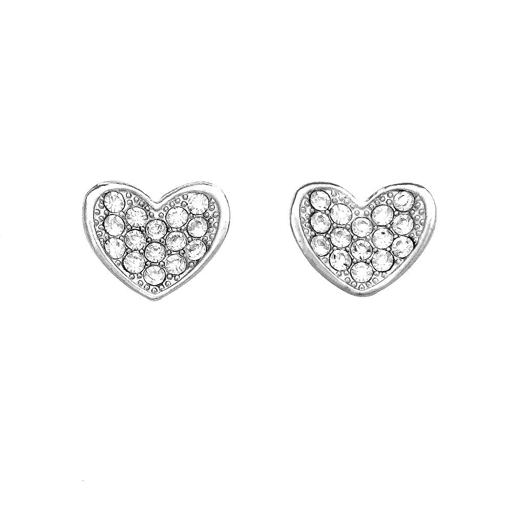 Cutie Heart Earrings with Silver Austrian Element Crystals