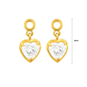 Gleaming Heart Shape Earrings with Austrian Element Crystals