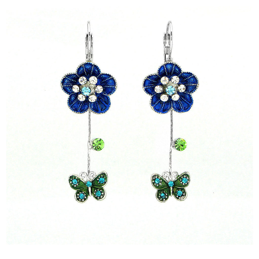 Flower and Butterfly Earrings with Multi color Austrian Element Crystals