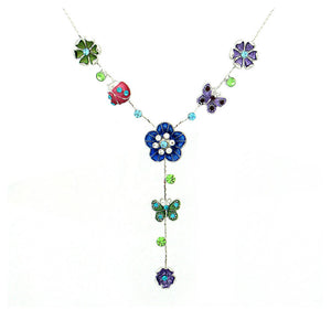 Flower and Butterfly Necklace with Multi color Austrian Element Crystals