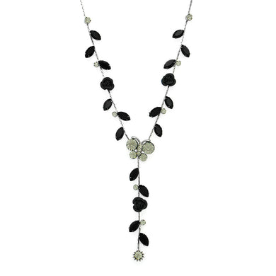 Butterful and Rose Necklace with Black Austrian Element Crystals
