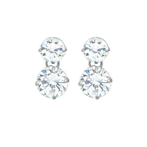 Gleaming Earrings with Silver Austrian Element Crystals
