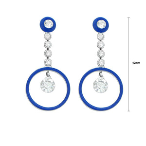 Dazzling Round Earrings with Silver Austrian Element Crystals