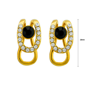 Stylish Earrings with Black and Silver Austrian Element Crystals