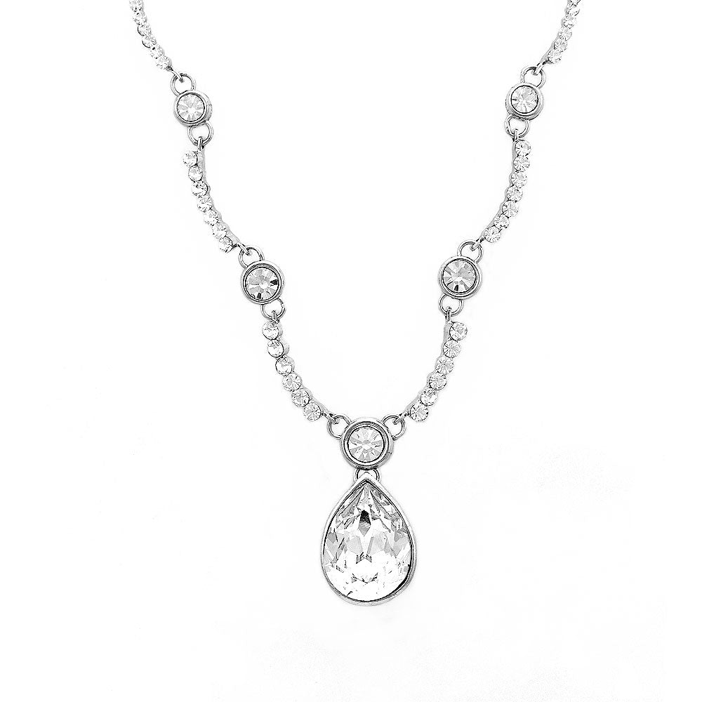 Glistening Teardrop Necklace with Silver Austrian Element Crystals