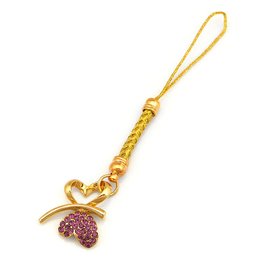 Golden Strap with Double Heart Butterfly in Purple Austrian Element Crystals