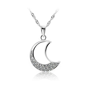 White Gold Plated 925 Sterling Silver Moon Pendant with White Cubic Zirconia and 45cm Necklace