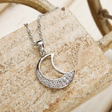 Load image into Gallery viewer, White Gold Plated 925 Sterling Silver Moon Pendant with White Cubic Zirconia and 45cm Necklace